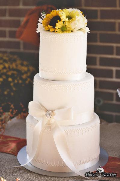 sunflower wedding cake, elegant white wedding cake, white wedding cake,
