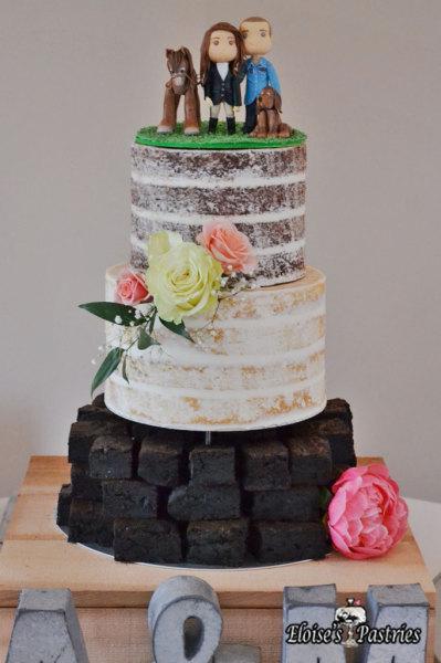 naked cake, brownie cake, naked brownie cake, naked wedding cake