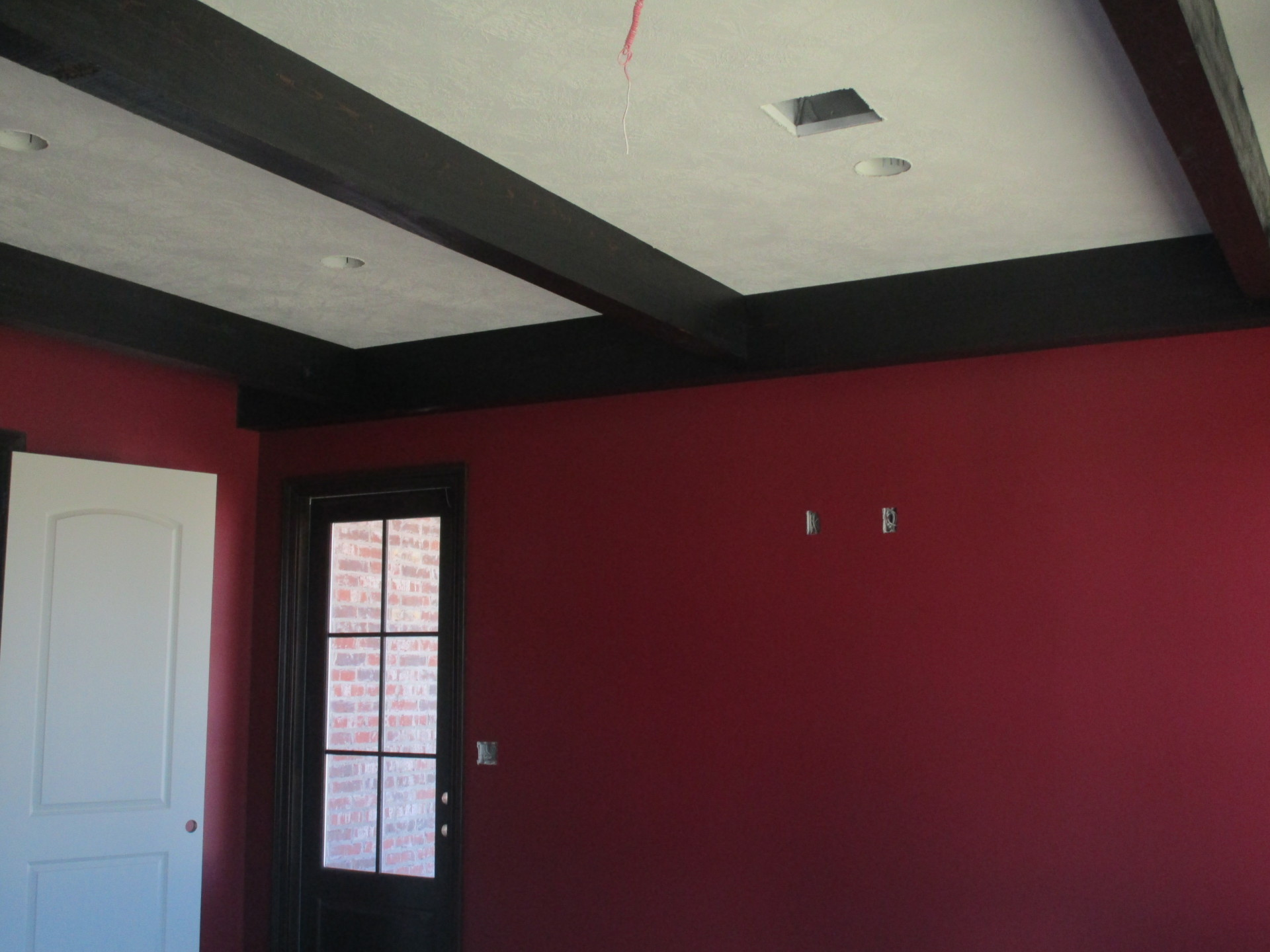 Exposed Cypress Beams in Billiards Room