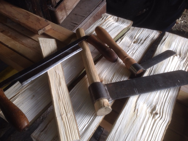 Traditional green woodworking tools, froe and drawknife used for chairmaking