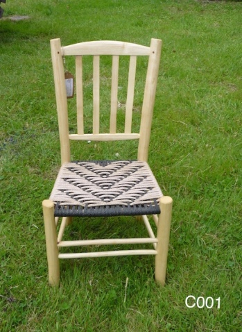 lath back rustic ash chair, black and natural coloured weaved cord seat