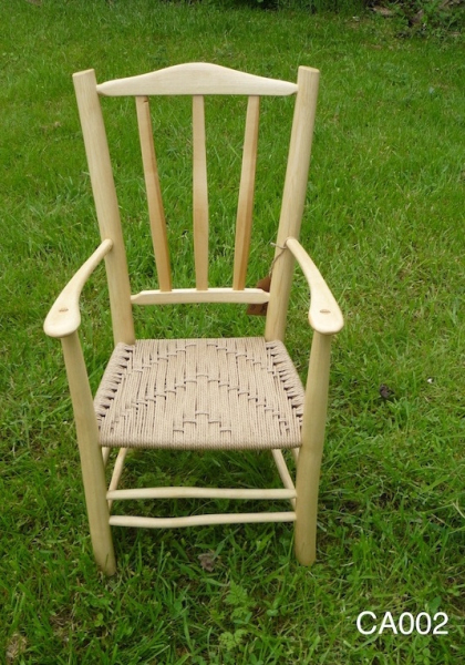 Child's lath back rustic ash chair armchair with danish cord weave seat