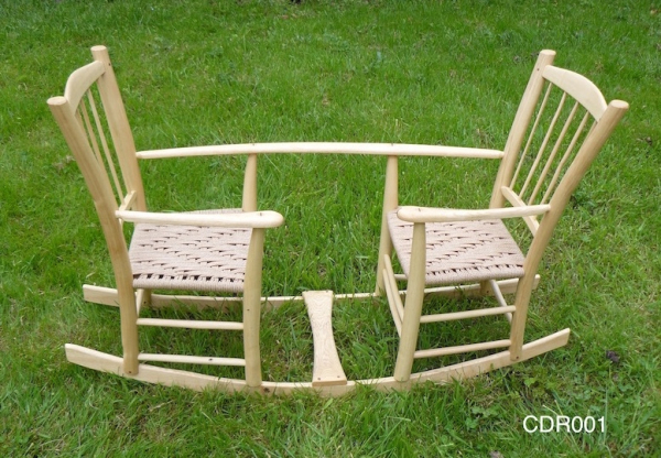 rustic ash chair, handcrafted, double-seated rocking seesaw for twins or toddlers