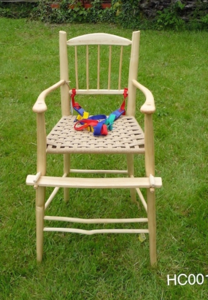 rustic ash wood spindle back, baby highchair chair, USA Shaker design