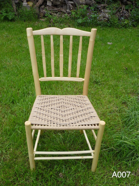 lath back rustic ash wood dining chair with sweetheart crest and weave seat