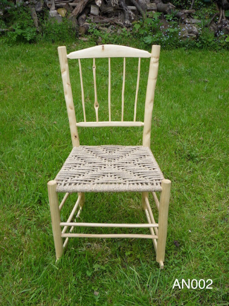 rustic ash wood nursing and rocking chair, natural paper rush weave seat