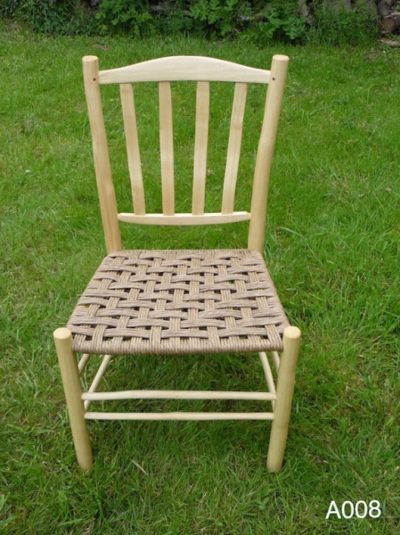 handmade, green woodworking lath back ash wood dining chair with danish cord