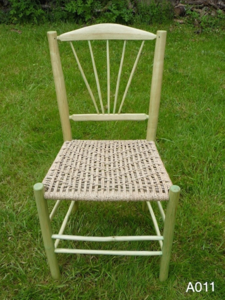 fanned spindle back rustic ash wood chair, pale green stain and weaved seat