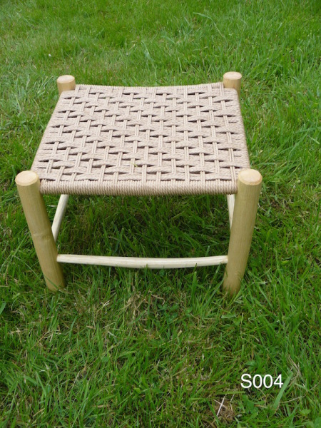 handmade green woodworking rustic ash footstool, danish cord weaving seat