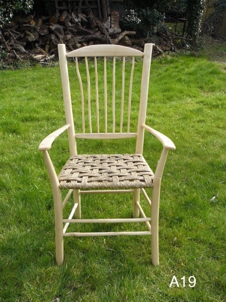rustic ash chairs wood armchair, high spindle back, danish cord weave seat