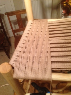 rustic ash chair with danish cord modified Irish pattern weaving