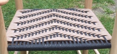 rustic ash chair with black and natural danish cord twill pattern
