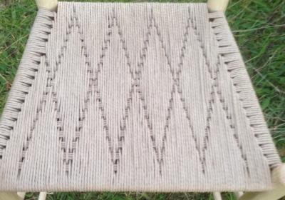 hemp rope seat weaving pattern on rustic ash chair armchair