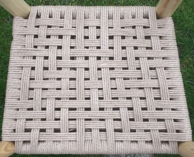 danish cord traditional weave seating pattern on rustic chair