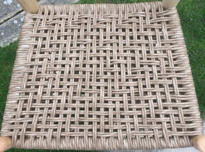 danish cord traditional simple weave seating on rustic chair