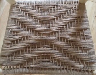 danish cord seating twill diamond pattern used on rustic chair