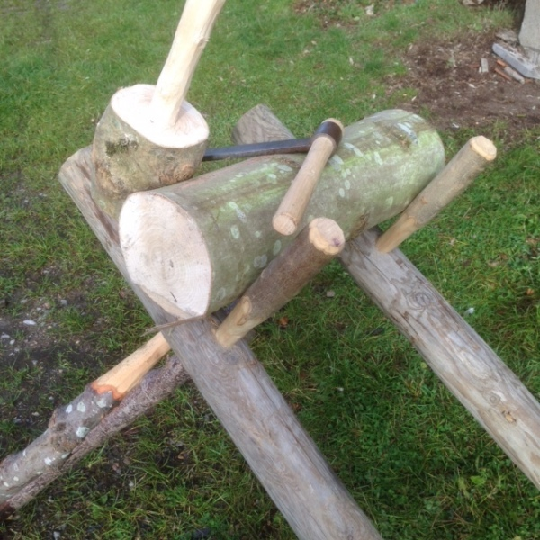 green woodworking tools used for cleaving ash logs for rustic ash chairs