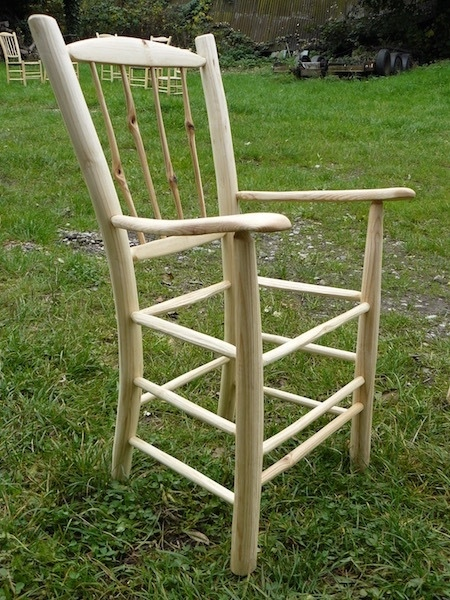 knotty spindle-back rustic ash chairs armchair frame, unseated