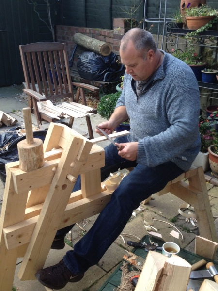 rustic ash chairs green woodworking with shaving horse and draw knife