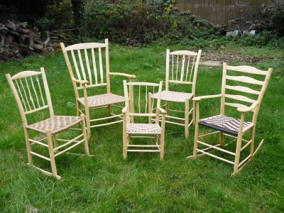 selection of rustic ash chairs
