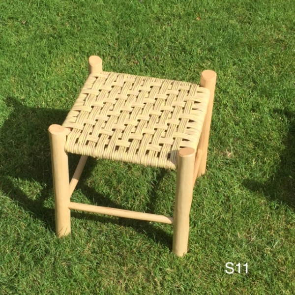 footstool with pale lemon and natural paper rush seat