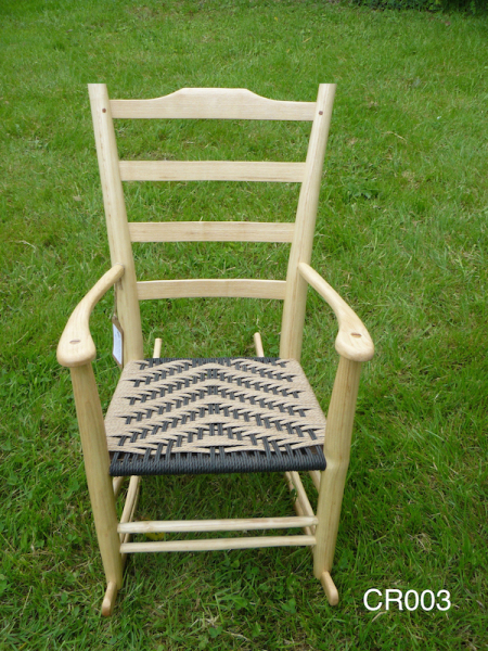 ladder back rustic ash chair, wood rocking chair with black and natural cord seat