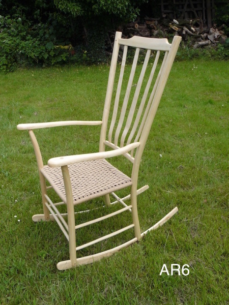 ash rocking chair with high lath back