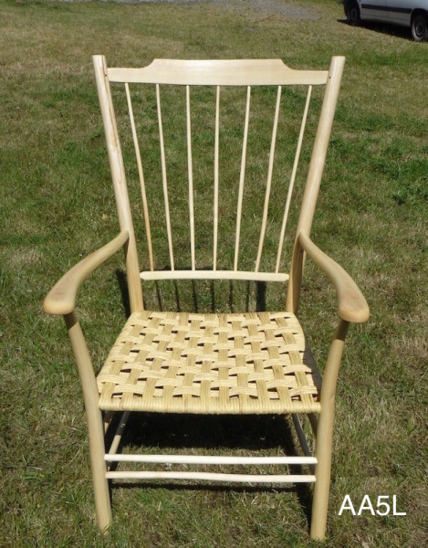 green ash wood armchair with paper rush seat