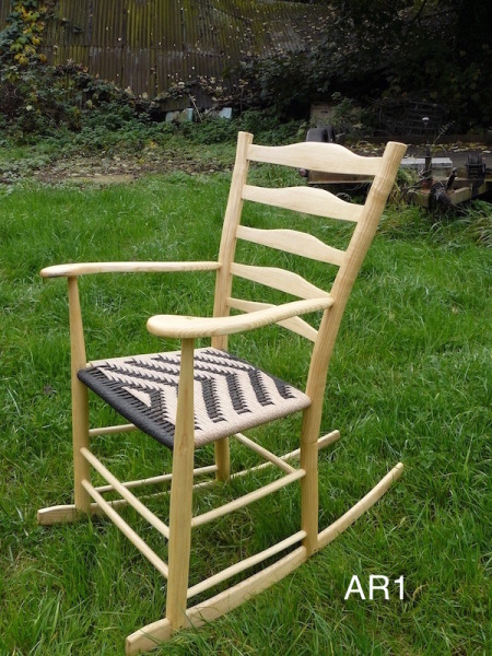 rustic ash chairs rocking armchair with black danish cord seat