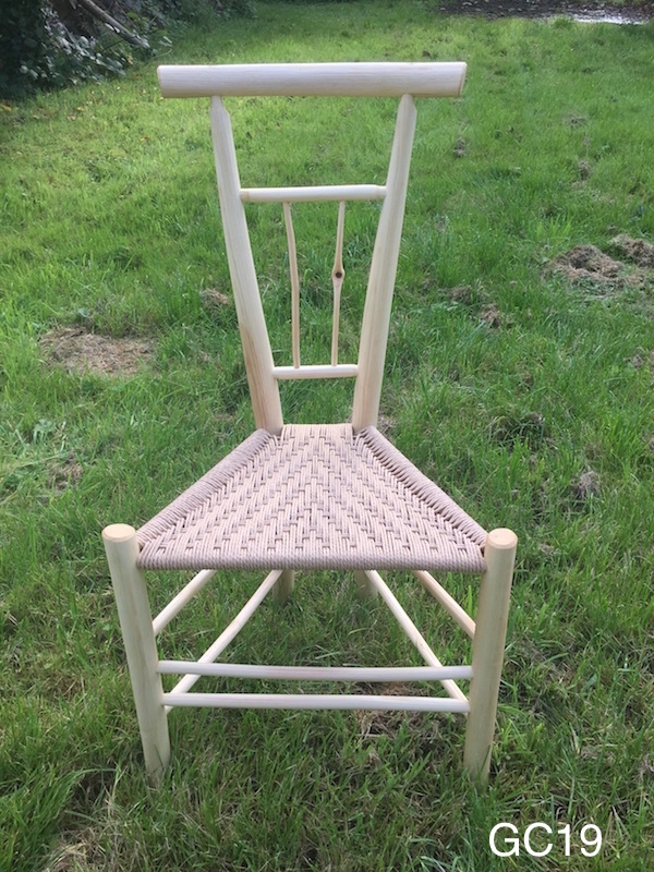 ash wood triangular side chair