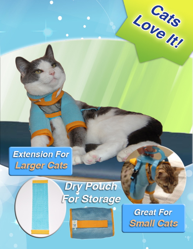 cat grooming restraint harness