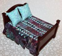 Aqua and Burgundy doll house quilt set