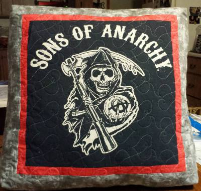 Sons of Anarchy quilted t-shirt pillow