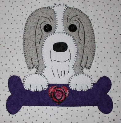 15 - Bearded Collie with bone