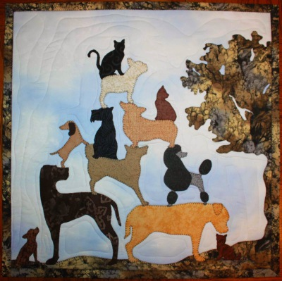 4 - Pyramid of Dogs with a Cat - Outside