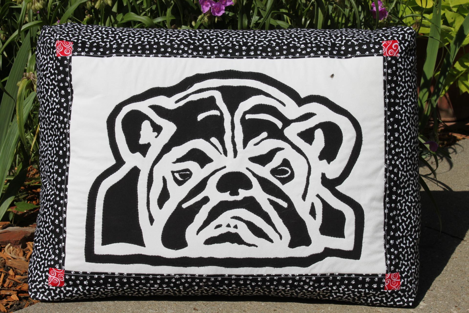 Bulldog black and white pillow