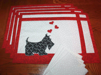 2 - Scottie Love - Placemats and Cloth Napkins
