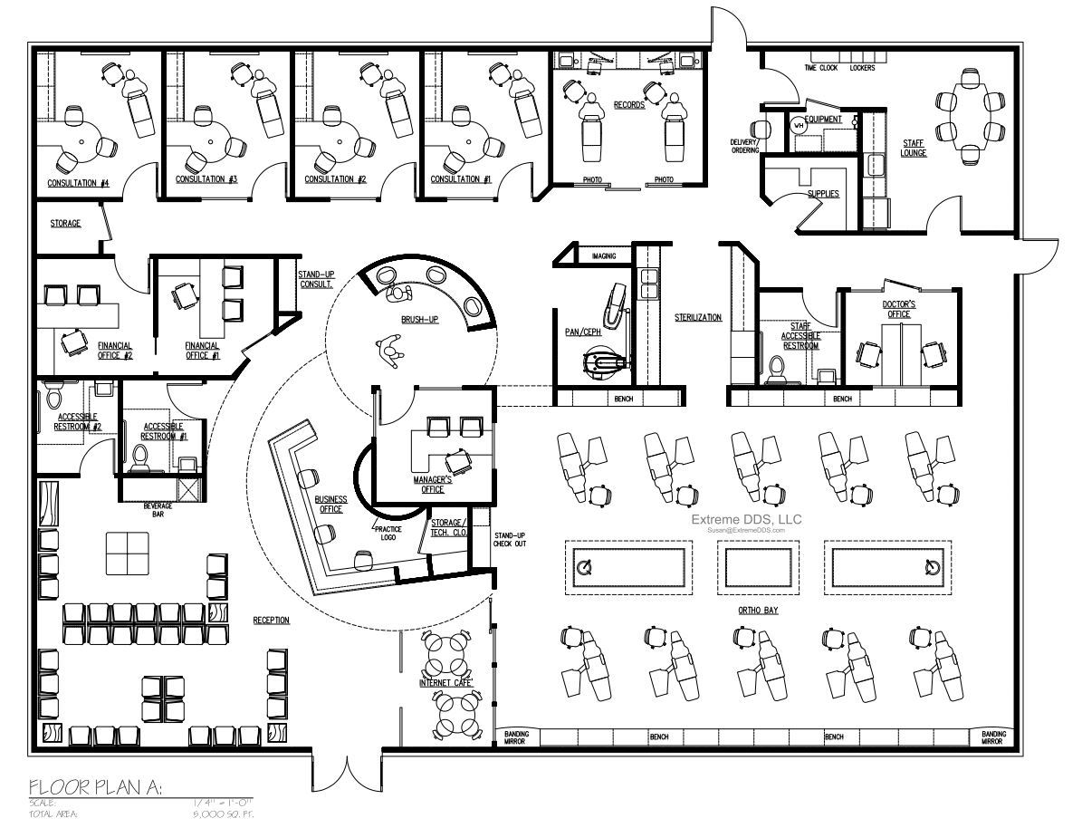 Dental office floor plans orthodontic and pediatric for Office floor plan design online
