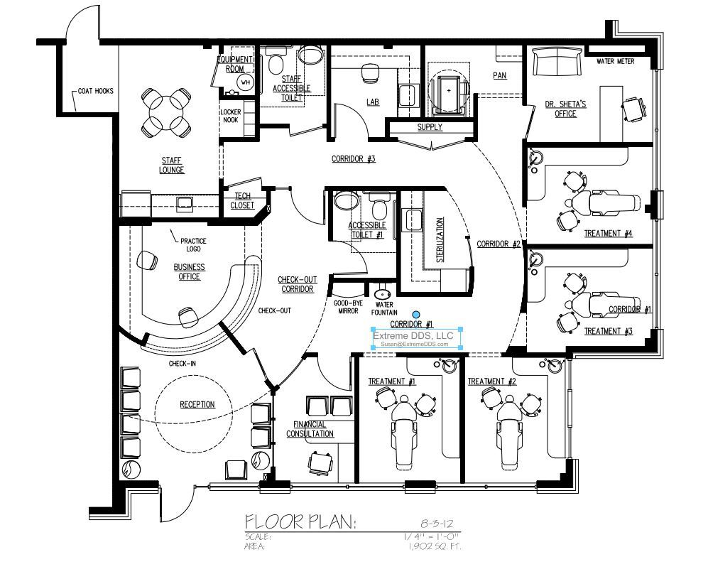 Family and general dentistry floor plans for 1000 sq ft office floor plan