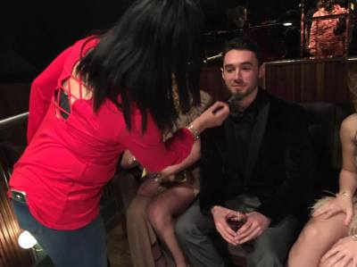 Grooming on the set of Elegant Shades of the Night