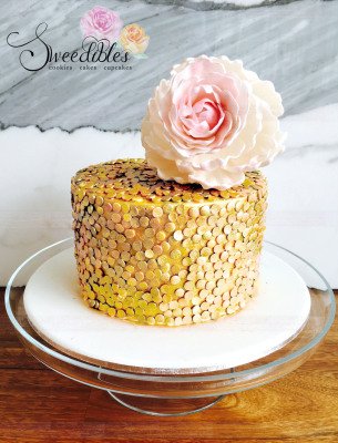 Gold sequin with Peony