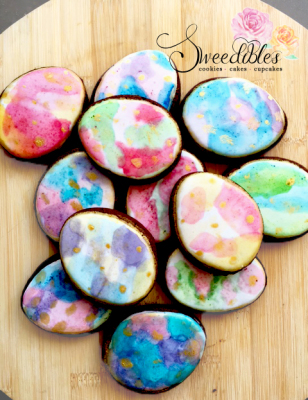 Watercolour Egg Cookies