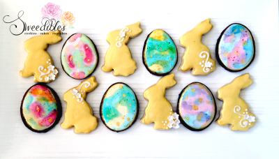 Gold Bunnies & Watercolour Egg Cookies