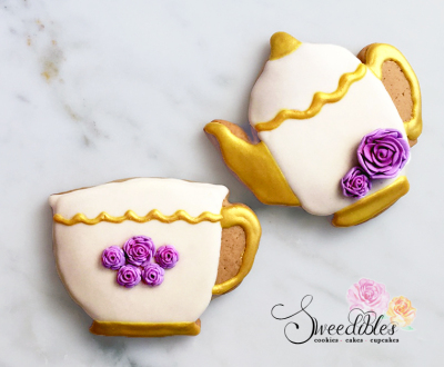Tea Pot & Tea Cup with purple roses