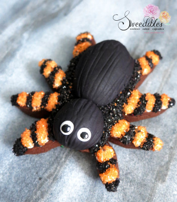 Orange Spider Halloween Cookie
