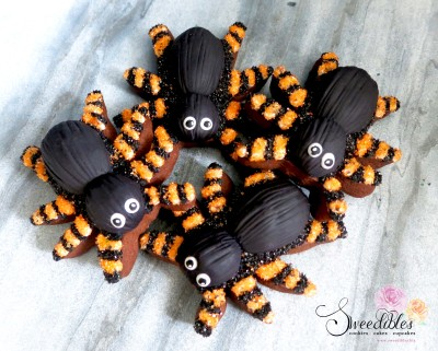 Orange Spider Halloween Cookies