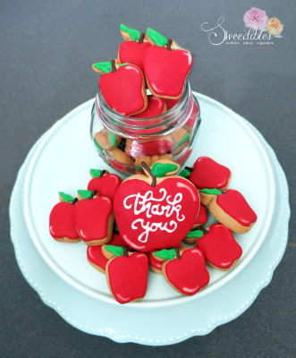 Teacher's Appreciation Cookies - Red Apples