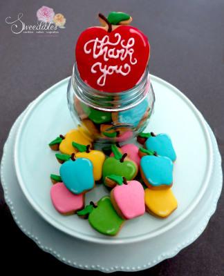 Teacher's Appreciation Cookies - Pastel Apples