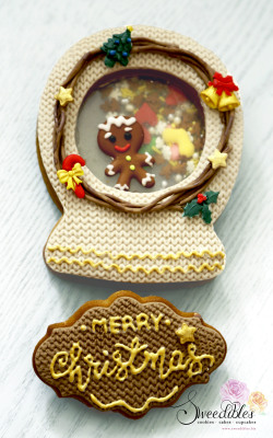 Gingerbread Man Snow Globe Cookie