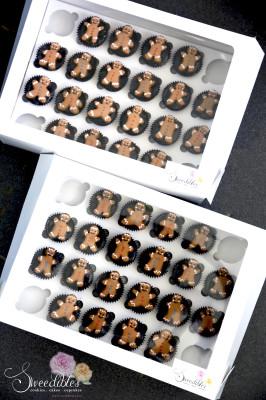 Mini Gingerbread Man Cookies on Mini Chocolate Cupcakes